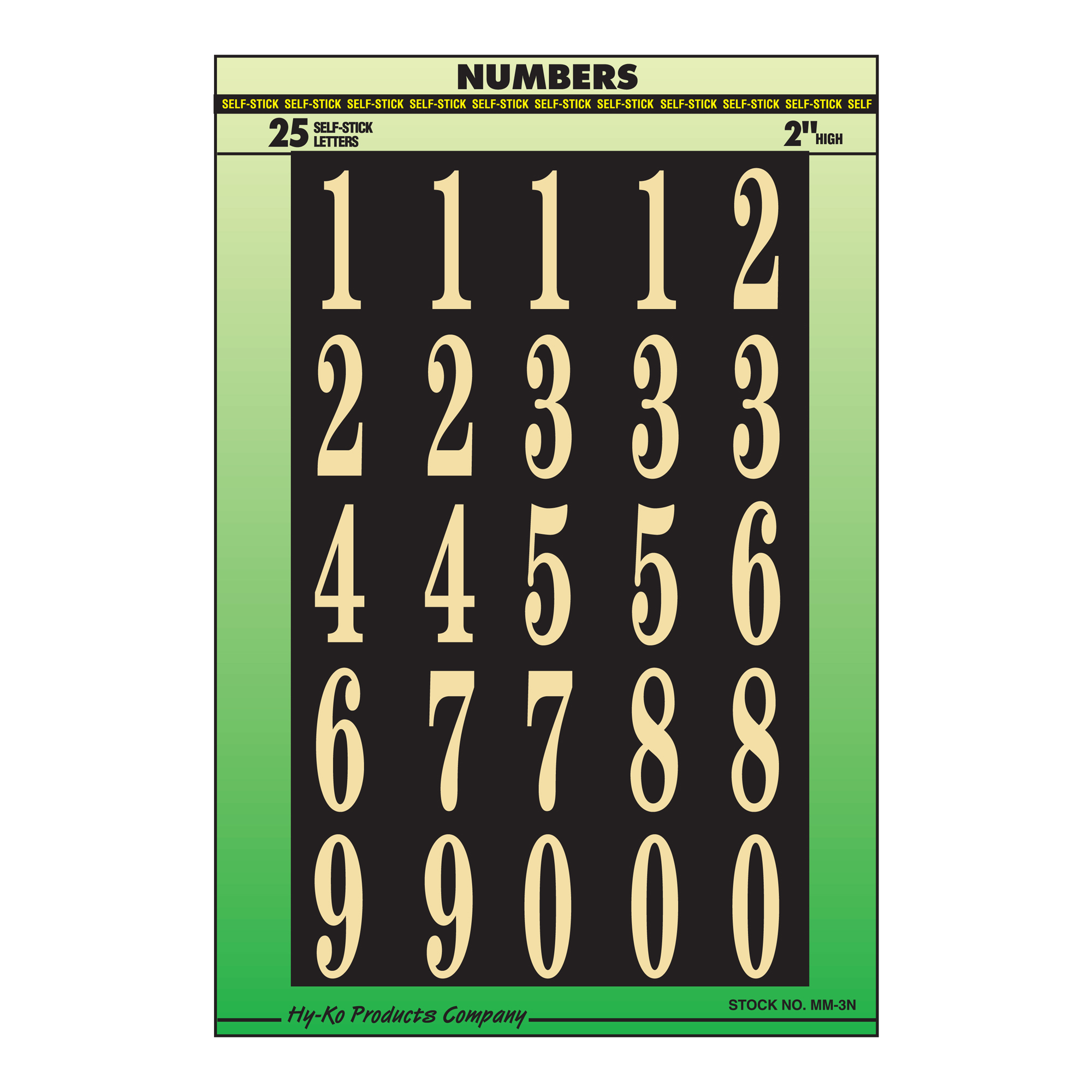 "Self-Stick 2"" Number Set, Gold"