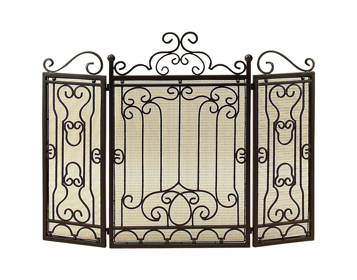 Victorian Antique Metal Fireplace Screen Bronze Curled Art Living Room Décor 90569 by Woodland Imports