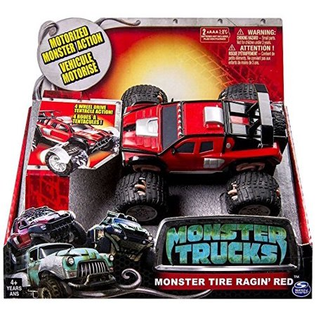 Monster Truck Big Stompin' Truck - MONSTER TIRE RAGIN' RED - Motorized Monster Action, 4 Wheel