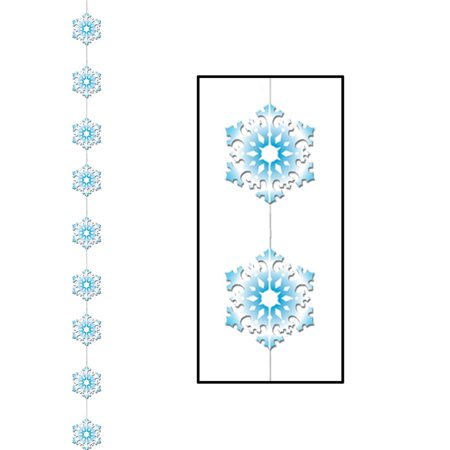 Club Pack of 12 Winter Wonderland Themed Snowflake Stringer Christmas Hanging Party Decorations 6.5' - Christmas Theme Party Decorations
