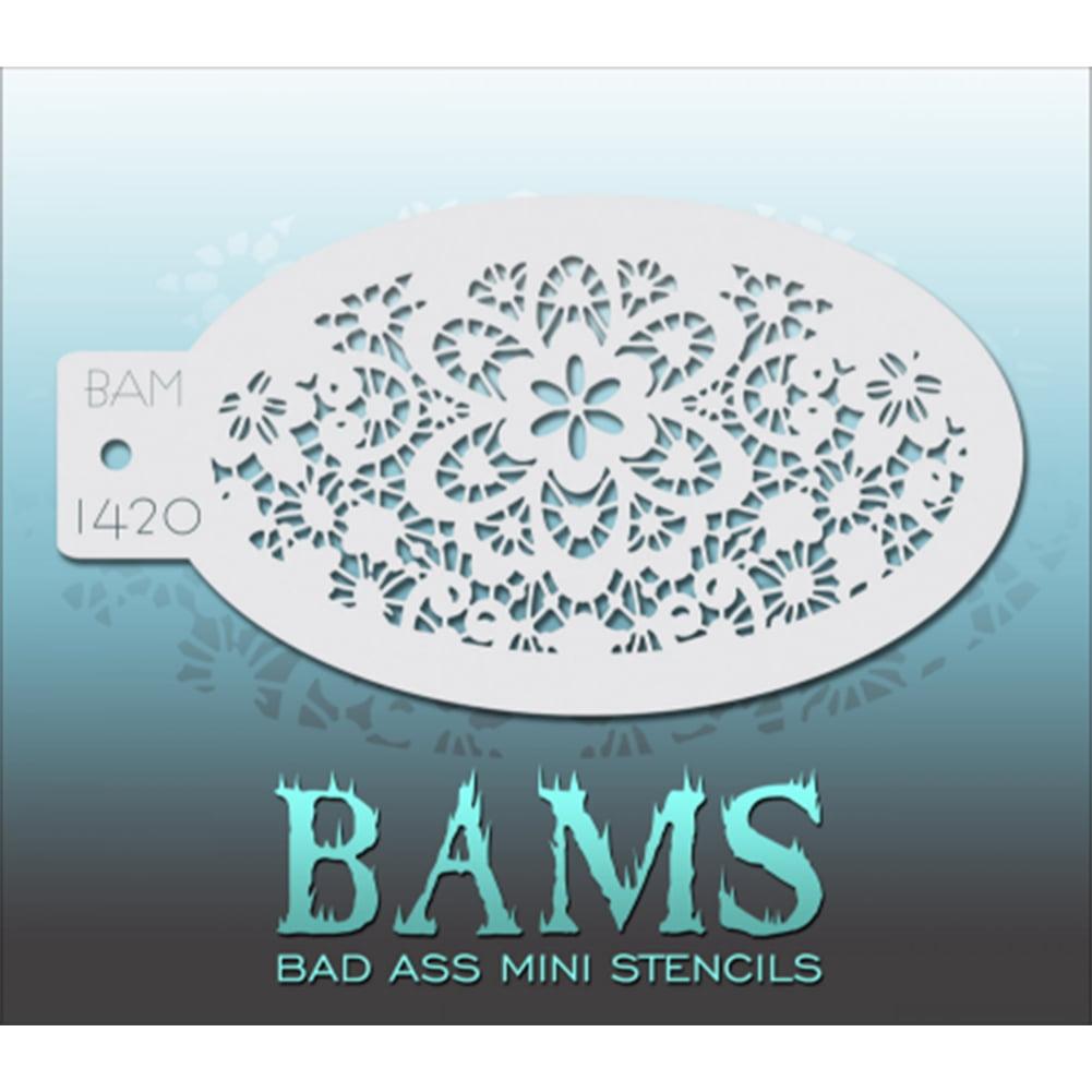 Bad Ass Floral Lace Mini Stencil BAM1420