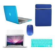"""TopCase Macbook Pro 13"""" 13-inch (A1278 / with or without Thunderbolt) 5 in 1 Bundle - Ultra Slim Light Weight Rubberized Hard Case Cover + Matching Color Soft Sleeve Bag + Wireless Mouse + Silicone Ke"""