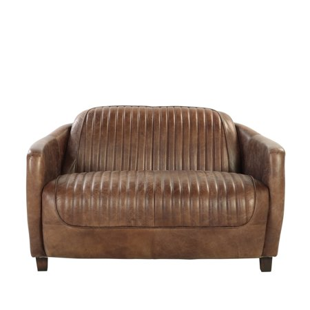 ACME Brancaster Loveseat, Retro Brown Top Grain Leather & (Aluminum Loveseat)