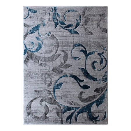 Masada Rugs, Modern Woven Area Rug, Hand Carved, Gray with Blue (8 Feet X 10 Feet)