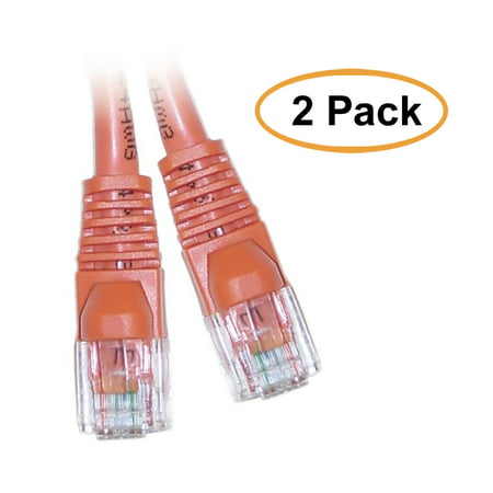 eDragon Cat5e Orange Ethernet Crossover Cable, Snagless/Molded Boot, 3 Feet, 2 Pack ()