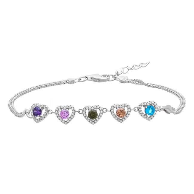 7 in Multi Color CZ 925 Sterling Silver Infinity Link Tennis Bracelet