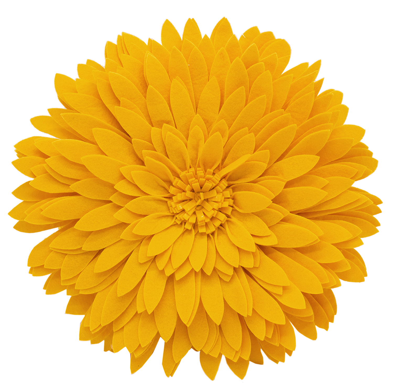 "3D Sunflower Decorative Throw Pillow 13"" Round (Ivory, Case+Insert)"