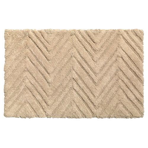 Chevron Weave 100% Cotton Bath Mat, Dark Linen