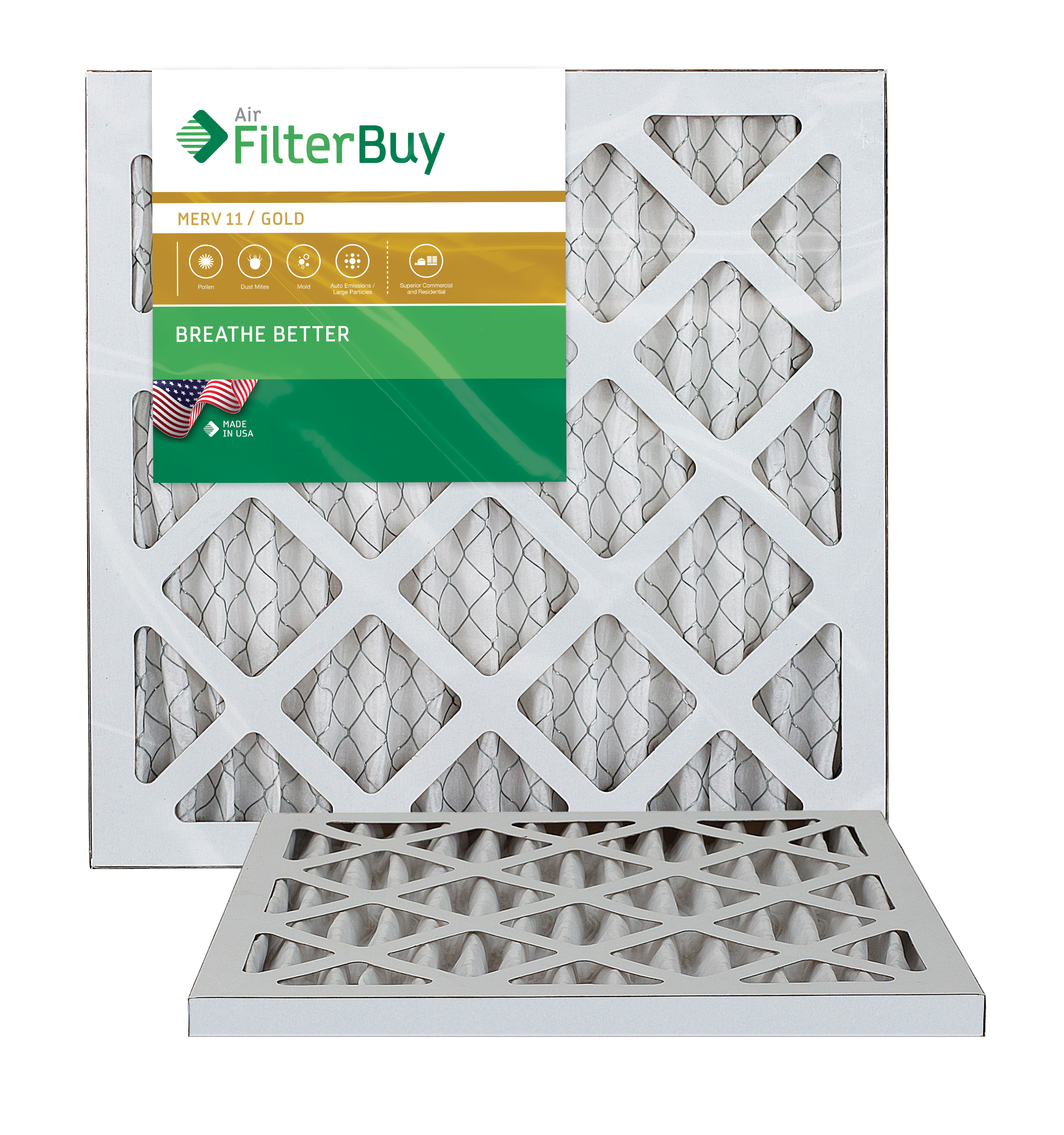 AFB Gold MERV 11 10x18x1 Pleated AC Furnace Air Filter. Pack of 2 Filters. 100% produced in the USA.