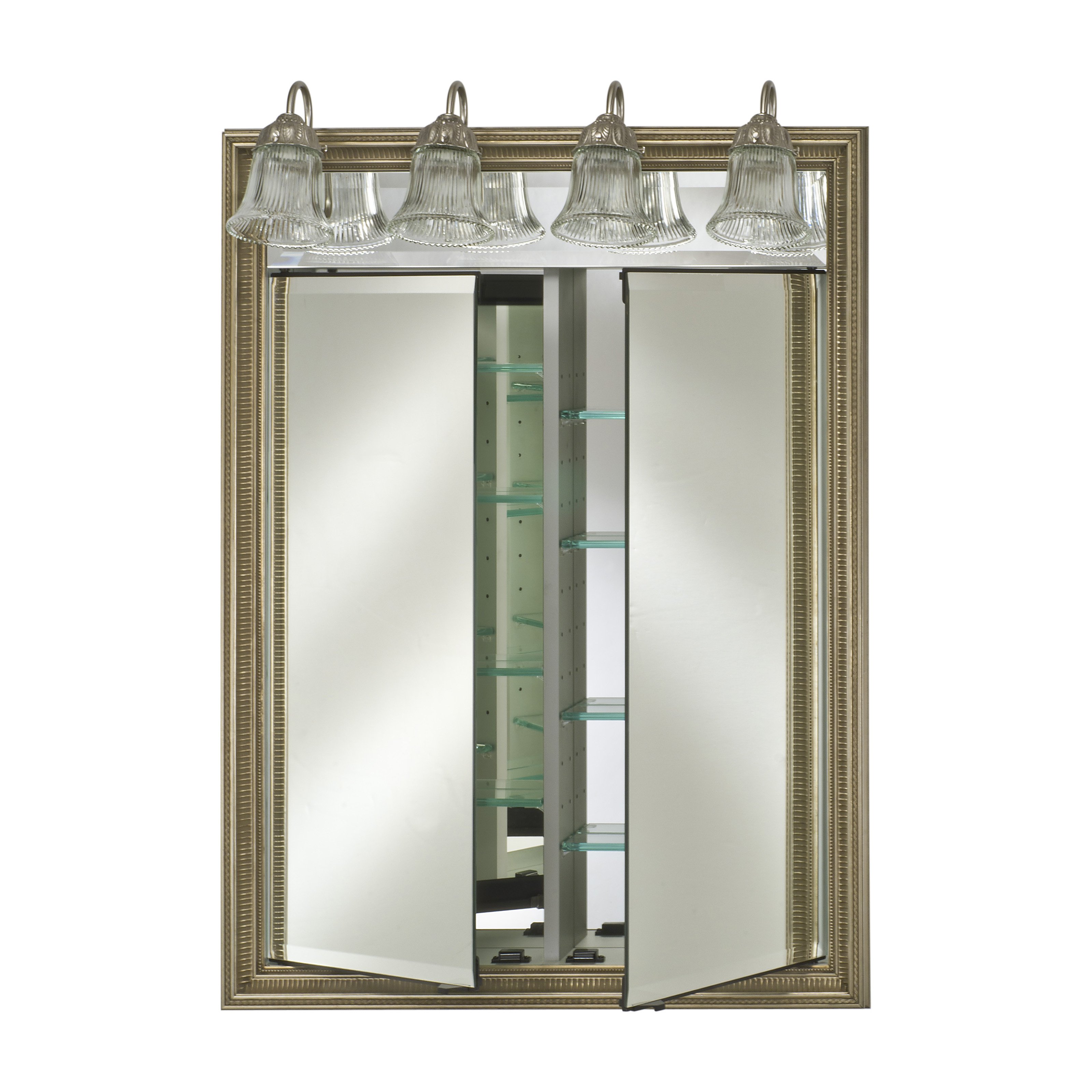 Afina Signature Traditional Lighted Double Door 31W x 40H in. Recessed Medicine Cabinet