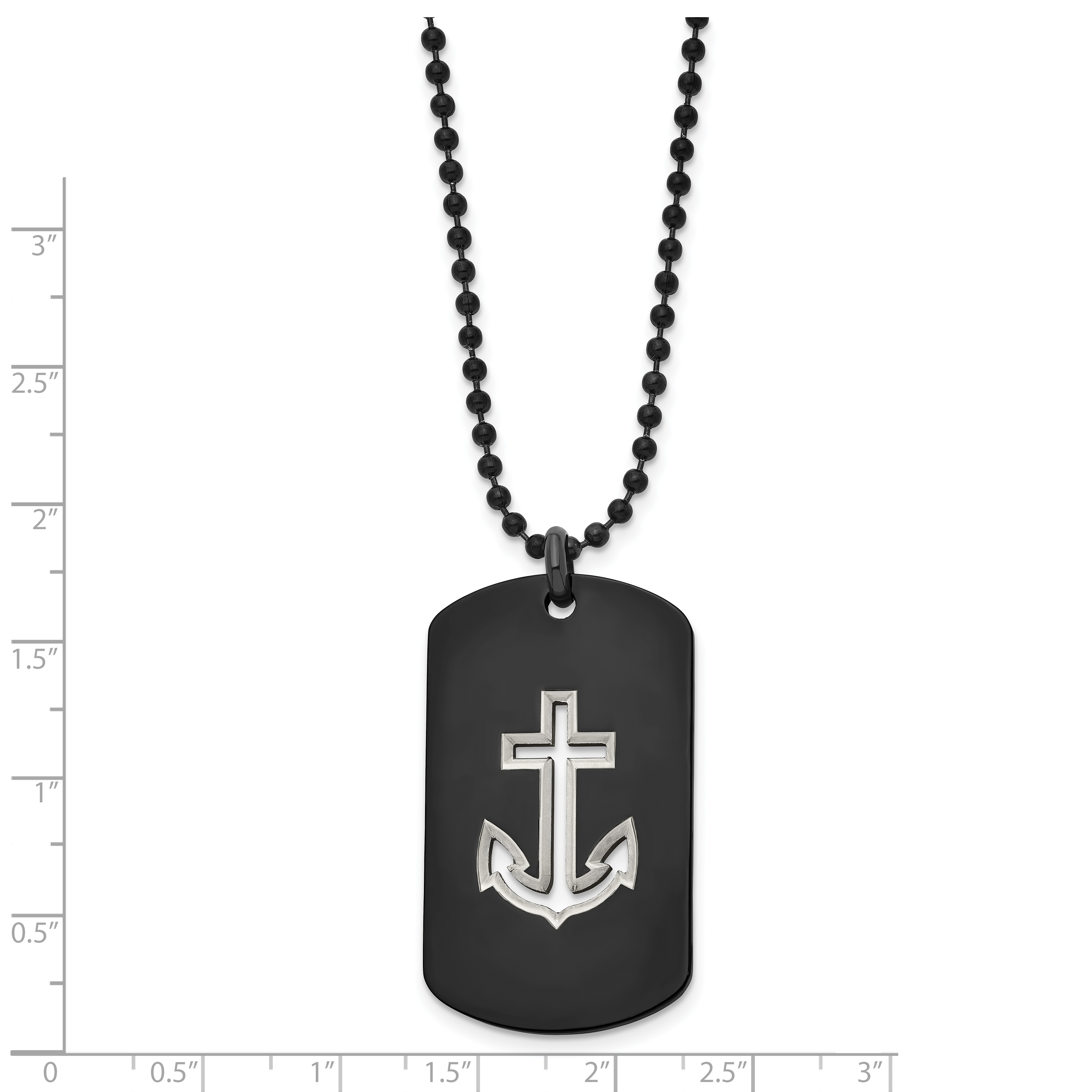 Saris and Things Stainless Steel Black Plated Cross Pendant Necklace 22in