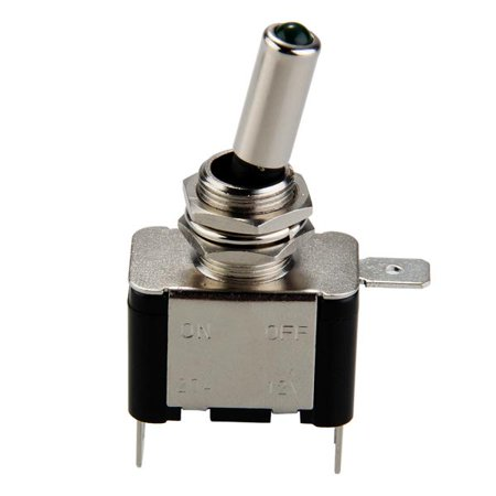 Toggle Switch Tip - Metal SPST Green LED Lighted Tip Toggle Switch 12V 20A On/Off Car Truck Chrome