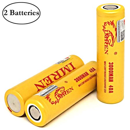 IMREN IMR 18650 3000mAh 20A/40A Rechargeable High Drain Flat Top Vape Battery (2 Pack) With Free Storage (The Best 18650 Rechargeable Battery For Vaping)