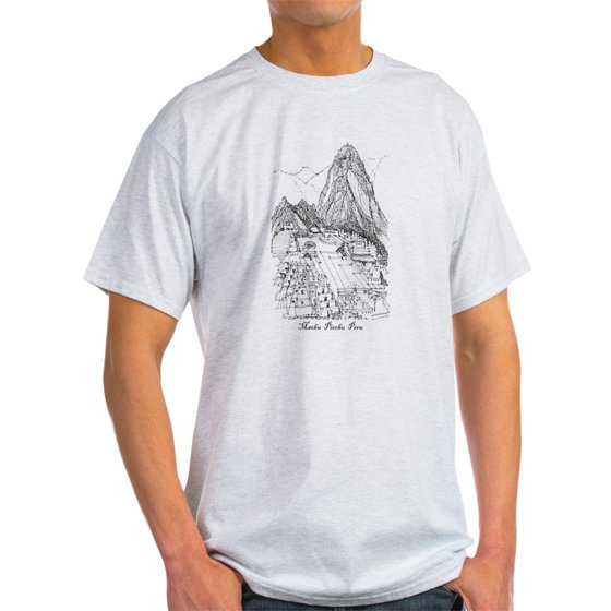 25550e06 CafePress - CafePress - Machu Picchu Sketch T-Shirt / Blue &Amp; Grey Also  - Light T-Shirt - CP - Walmart.com