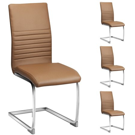 Gymax Set of 4 Kitchen Dining Chair High Back PU Leather with Chrome Metal Base Brown ()