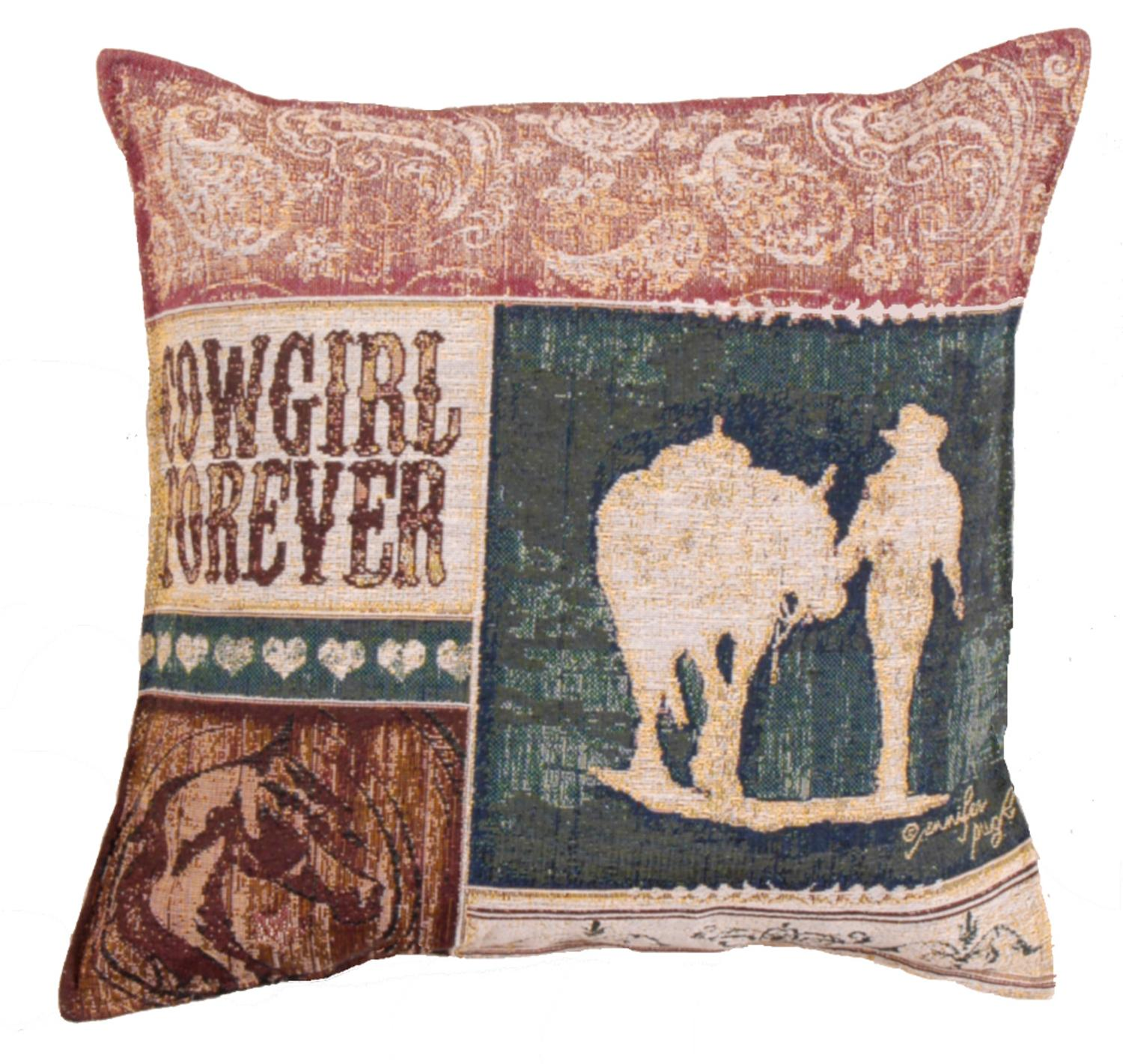 Set of 2 Country Western Cowgirl Forever Decorative Tapestry Throw Pillows 17""