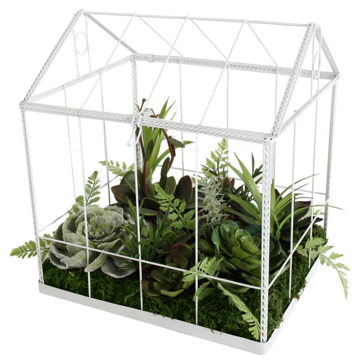 """Image of 10"""" Artificial Succulent Garden in Decorative Greenhouse"""