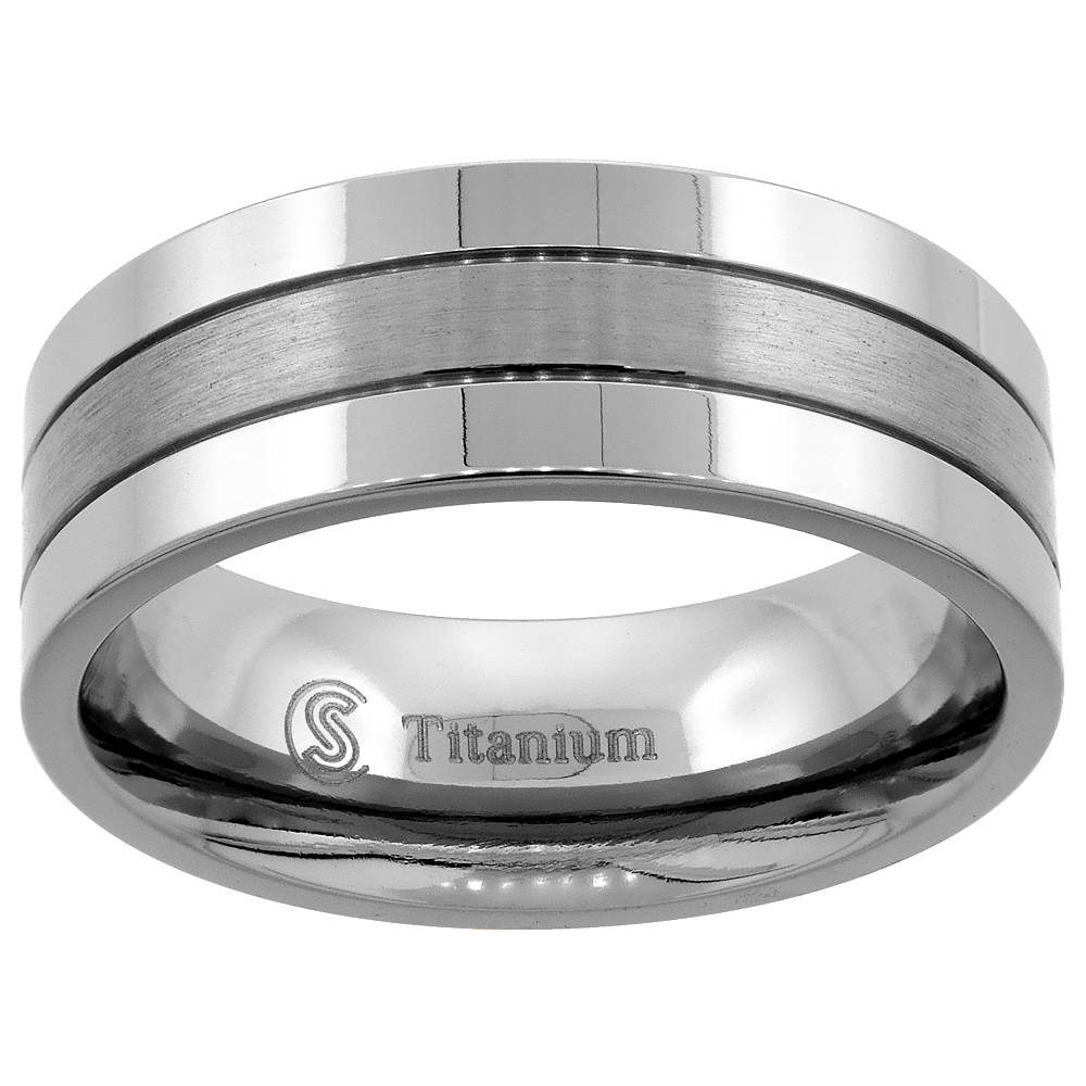 Titanium 8mm Wedding Band Ring 2 Grooves Brushed Center Flat Comfort Fit, sizes 7 - 14