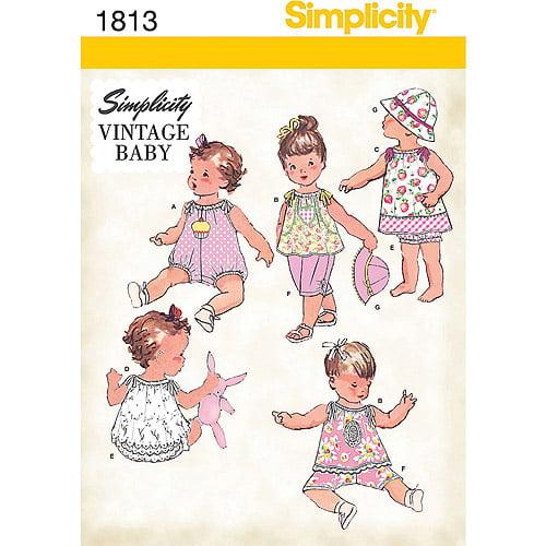 Simplicity Pattern Babies' Sportswear, Romper/Dress/Top/Pants/Panties/Hat, (XXS, XS, S, M, L)