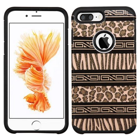 - ASMYNA Zebra Hard Dual Layer Rubber Silicone Cover Case for Apple iPhone 7 Plus - Brown/Black