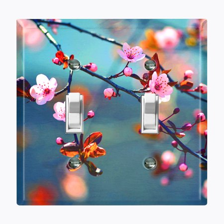 Metal Light Switch Plate Outlet Cover (Flower Sakura - Double Toggle)