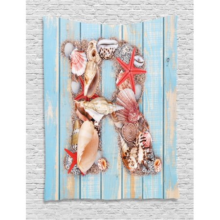 Letter R Tapestry, Tropical Animals in Alphabet Art Ocean Letter R Seashells Starfish, Wall Hanging for Bedroom Living Room Dorm Decor, 60W X 80L Inches, Pale Blue Ivory Dark Coral, by Ambesonne