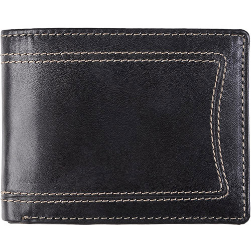 Daxx Men's Topstitched Bi-fold Genuine Leather Wallet