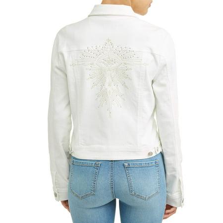 Head Embroidered Jacket - Sofia Jeans By Sofia Vergara Angela Embroidered Evil Eye Denim Jacket Women's (White)