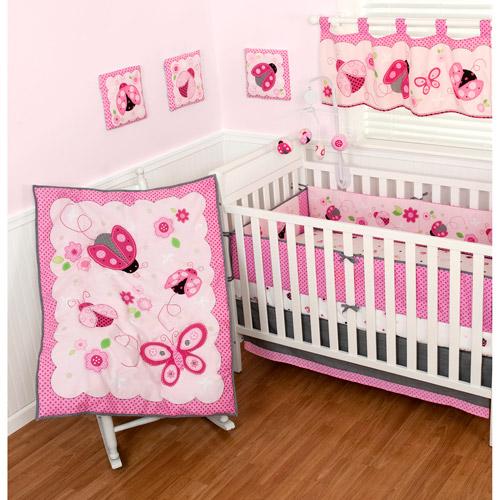 Sumersault Lovely Ladybug 10-Piece Nursery-in-a-Bag Crib Bedding Set
