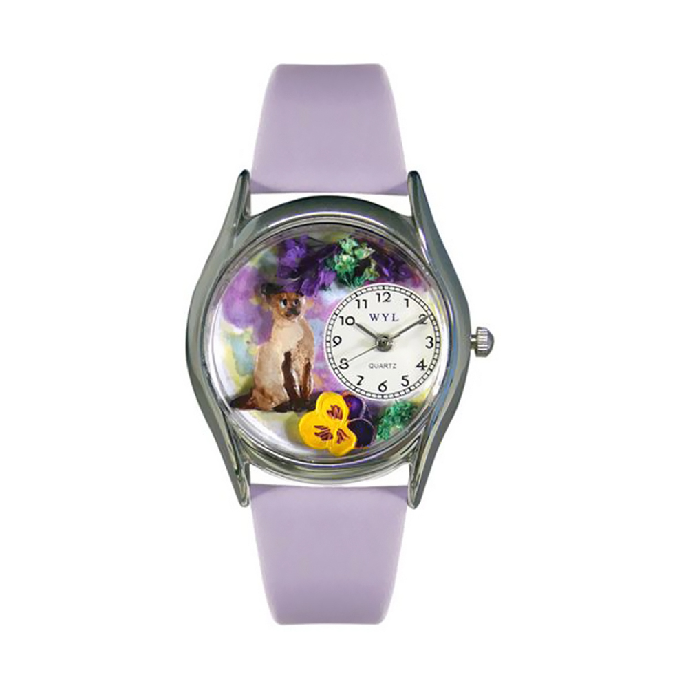 Whimsical Siamese Cat Lavender Leather And Silvertone Watch