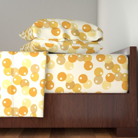 Circles Retro Look Yellow Vintage 100% Cotton Sateen Sheet Set by Roostery
