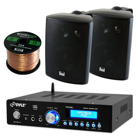 Pyle PDA5BU Amplifier Receiver Stereo, Bluetooth, AM/FM Radio, USB Flash Reader, Aux input LCD Display, 200 Watt With Dual LU43PB Indoor/Outdoor Speakers Bundle With Enrock 50ft 16g Speaker Wire ()
