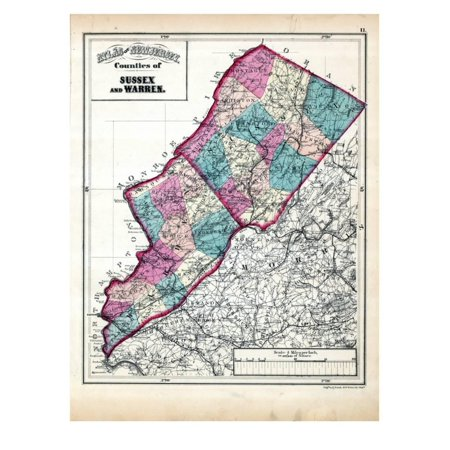 1873, Sus and Warren Counties Map, New Jersey, United States Print on georgia state map, blank us county map, virginia county map, gwinnett county zip code map, mississippi county map, georgia county map, religion by state map, half us population map, large us county map,