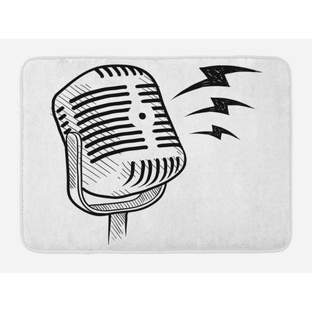 Doodle Bath Mat, Retro Microphone Communication and Media Concept Radio Show Speech Talk Podcast, Non-Slip Plush Mat Bathroom Kitchen Laundry Room Decor, 29.5 X 17.5 Inches, Black White,
