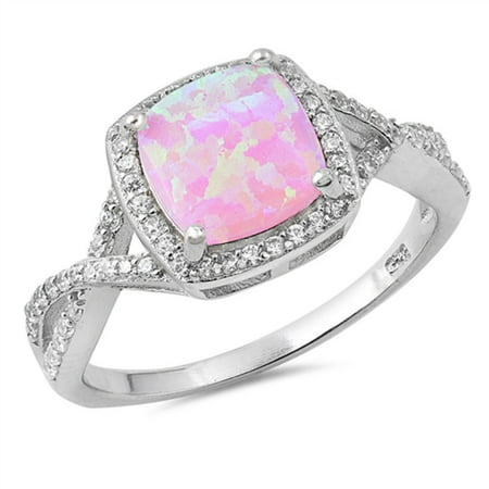 Princess Cut Pink Simulated Opal Center Surrounded With Small Cubic Zirconia Stones Swirl Ring Sterling (Pink Oval Stone)