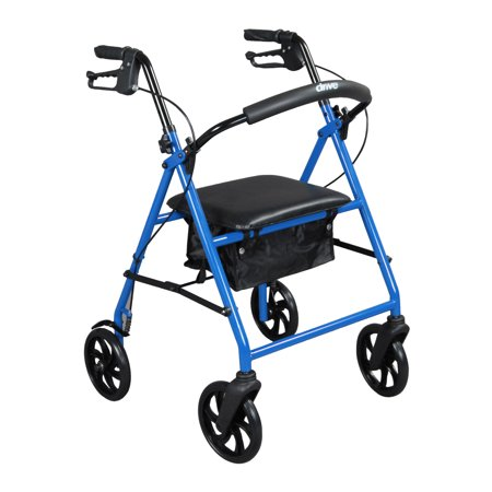 Drive Medical Steel Walker Rollator With 8   Wheels  Blue