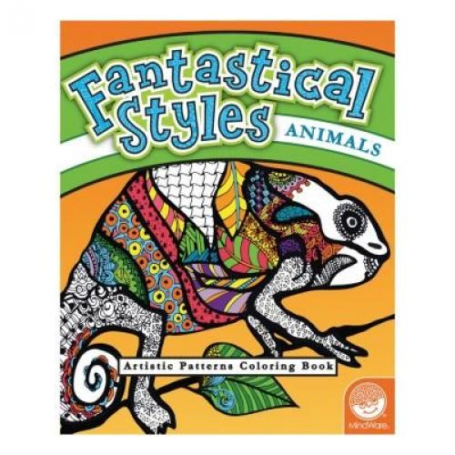 MindWare - Fantastical Styles Animal Coloring Book - 24 Puzzles - Teaches Creativity and Fosters Imagination 62008