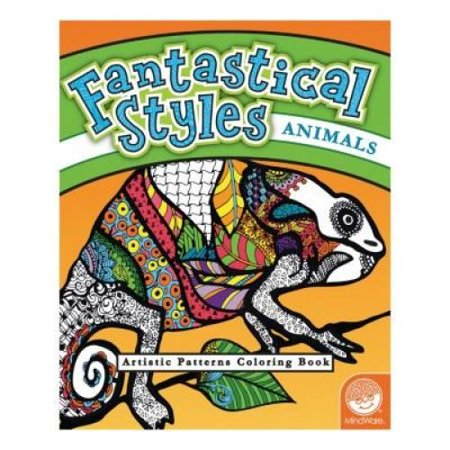 MindWare - Fantastical Styles Animal Coloring Book - 24 Puzzles - Teaches Creativity and Fosters Imagination