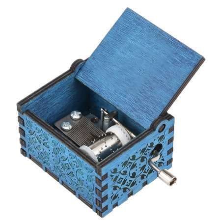 Vintage Wooden Theme Song Music Box Hand-operated Carved Engraving Music Case Creative Holiday Birthday Gifts for Kids Blue - Halloween Theme Song On Recorder