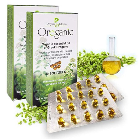 Organic Oregano Oil Capsules Blister 30 Softgels Hygiene Pack (2-pcs) - 80% Carvacrol - Candida Cleanse Immune Support - Greek Oil of Oregano Natural Antibacterial Antioxidant & (Best Antifungals For Systemic Candida)