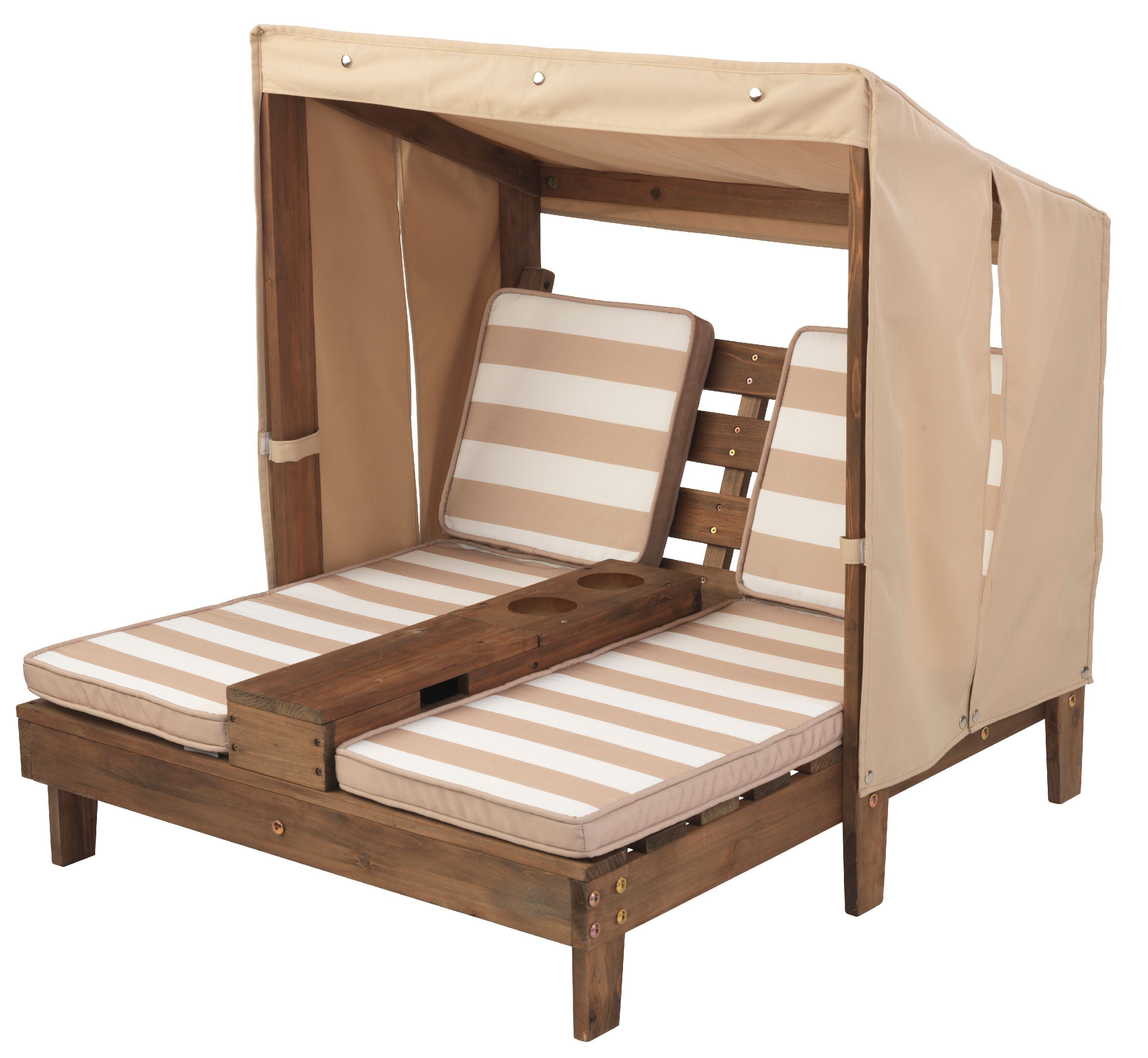 - KidKraft Double Chaise Lounge With Cupholders - Espresso & Oatmeal