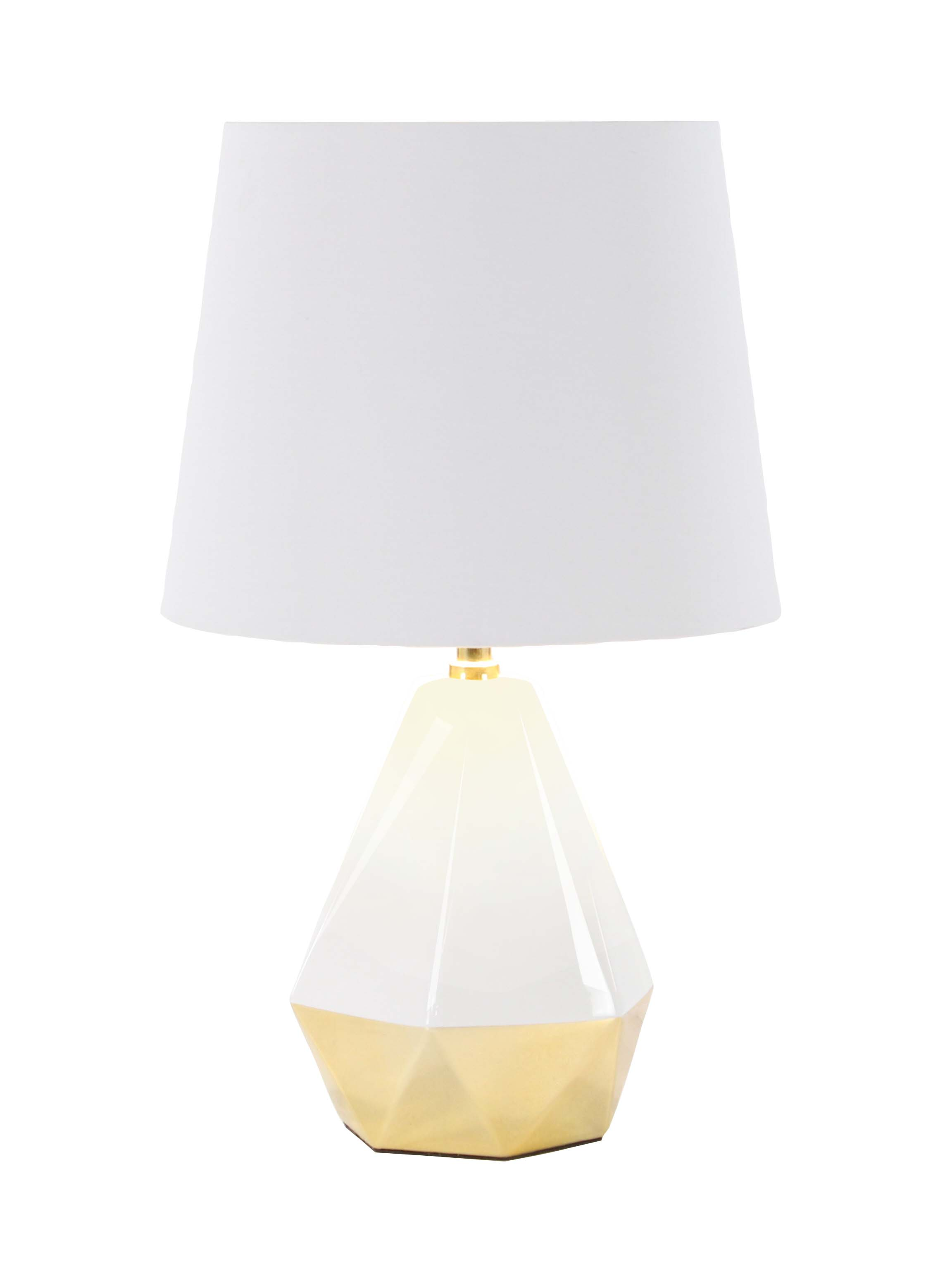 Decmode 23 Inch Modern Ceramic And Metal Faceted Pear Shaped White And Gold  Table Lamp
