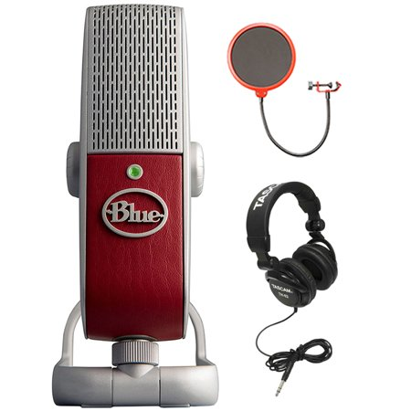 BLUE MICROPHONES Premium Mobile USB Microphone (Raspberry) with Deco Gear  Universal Pop Filter Microphone Wind Screen with Mic Stand Clip, Tascam
