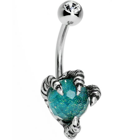 - Body Candy Stainless Steel Clear Accent Brilliant Blue Globe Take Me Talons Belly Button Ring