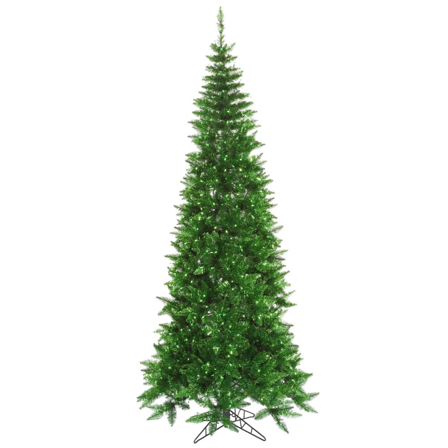 9' Pre-Lit Green Tinsel Slim Artificial Christmas Tree - Green Lights