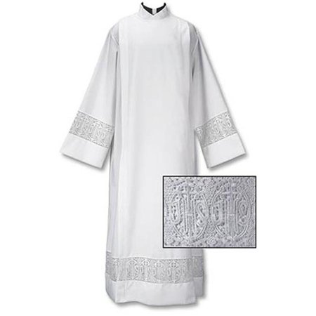Ihs Cross - CBCS TS595-MD Latin Cross & IHS Lace Front Wrap Alb, Medium