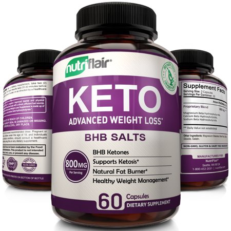 Keto Diet Pills - 800mg Advanced Weight Loss Ketosis Supplement - All-Natural BHB Salts Ketogenic Fat Burner Capsules - GMP-Sealed, Non-GMO Product - Ideal Weight Loss Supplements for Men &