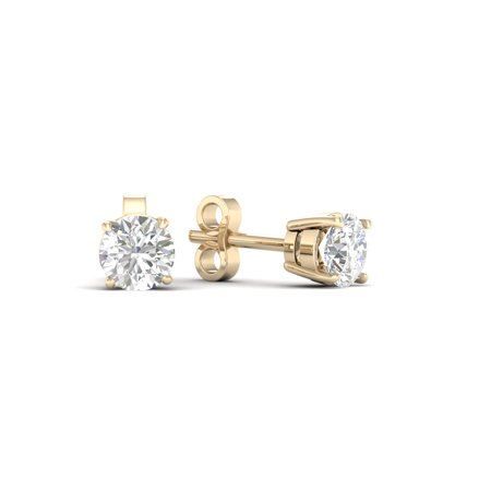Imperial 1 6ct Tdw Diamond 10k Yellow Gold Solitaire Stud Earrings