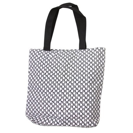 Clover Mini Checkered Black and White Skull Tote Bag, Black and White