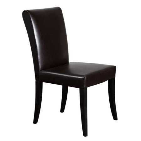 Diamond Sofa Leather Dining Side Chair in Dark Mocca (set of 2)